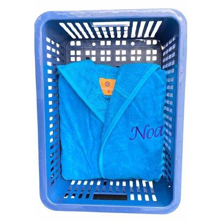 Badrock Kinderbadjas aqua blauw met naam borduren