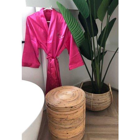 Satin-Luxury Donker roze satijnen kimono met naam borduren