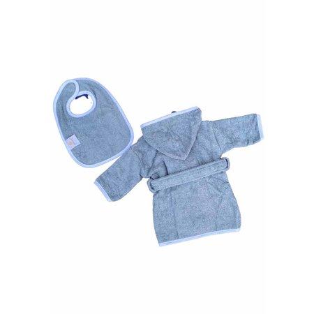 Badrock Baby  Denim blauwe baby badjas met naam borduren