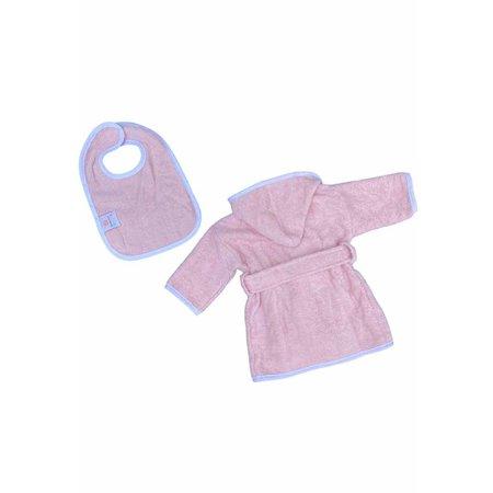 Badrock Baby  Roze babybadjas badstof katoen met capuchon - GRATIS slabbetje