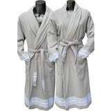 Badrock Grijze hamam badjas met naam borduren