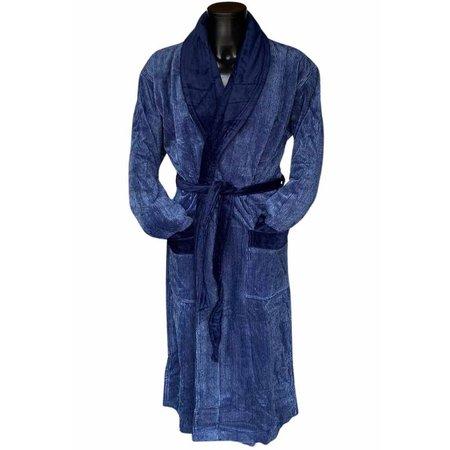 Van Dyck luxe velours herenbadjas met sjaalkraag - met strepen