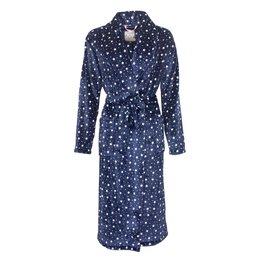 Sterren badjas dames blauw - fleece