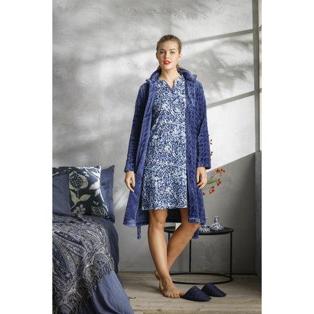 Pastunette  blauwe korte damesbadjas met rits  - fleece