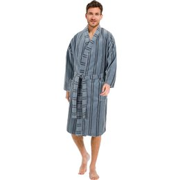 Pastunette  luxe grijze heren kimono met strepen