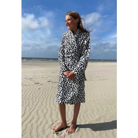 Badrock Kinderbadjas luipaard zwart wit - fleece