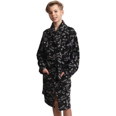 Zwarte kinderbadjas game - fleece