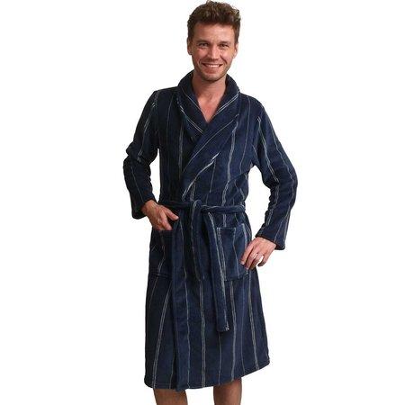 Zachte fleece herenbadjas blauw - streepmotief