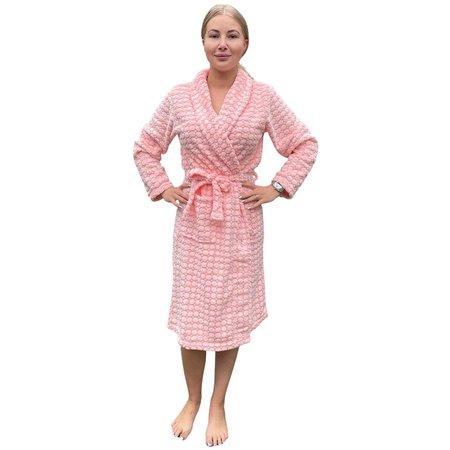 Zachte badjas dames peach fluor - fleece