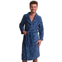 Zachte fleece herenbadjas blauw - ruitmotief