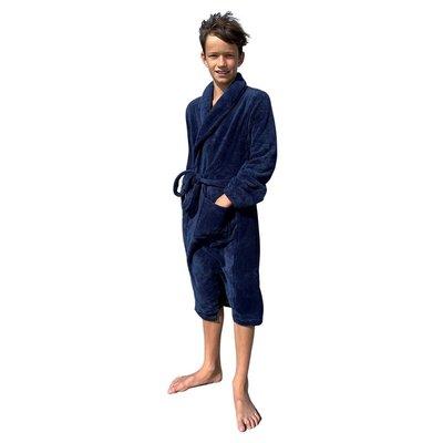 Relax Company  kinderbadjas fleece marine blauw
