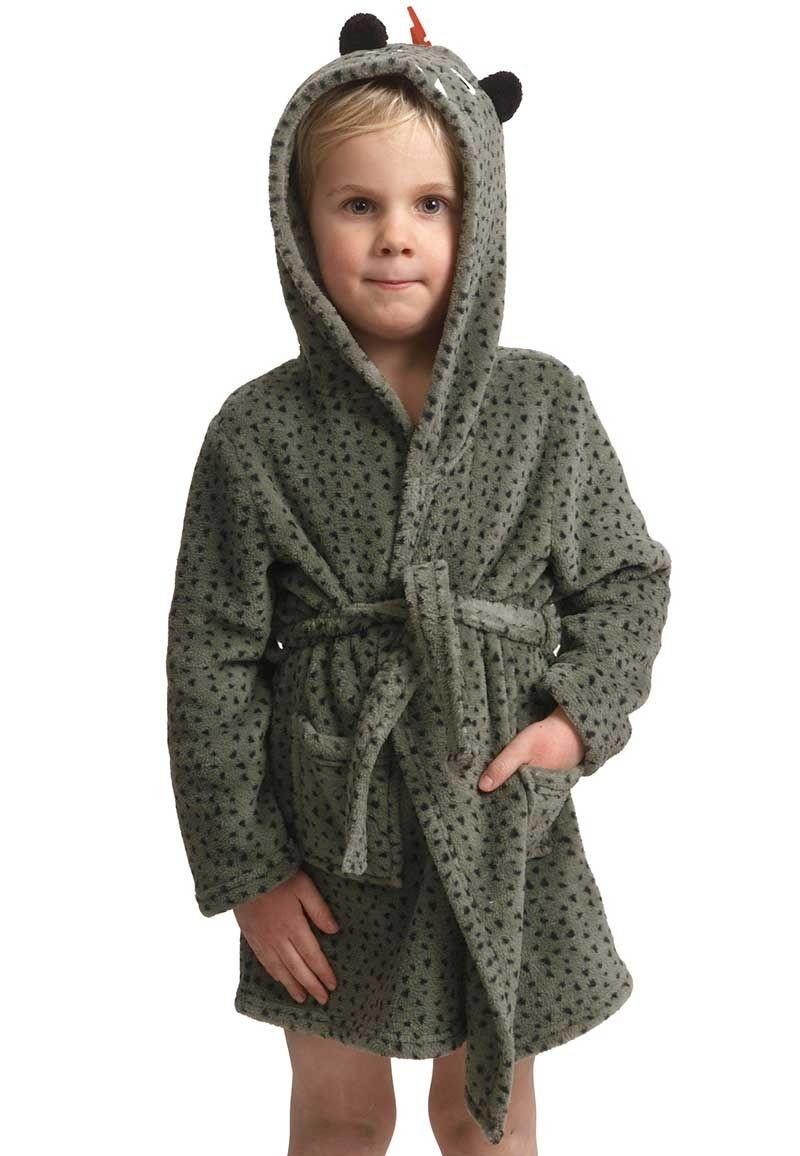 Kinderbadjas dino met capuchon fleece