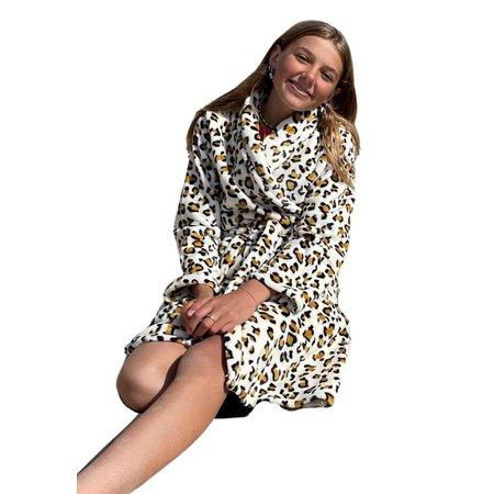 badjas kind Little Wild Thing fleece met sjaalkraag