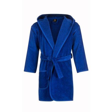 badjas kind kobalt blauw katoen met capuchon