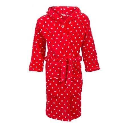 Playshoes  badjas kind Stippen rood fleece met capuchon