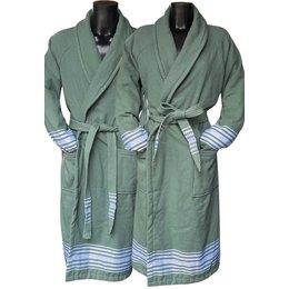 Badrock Groene hamam badjas met naam borduren