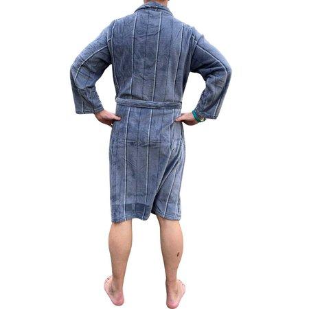 Zachte fleece herenbadjas grijs - streepmotief