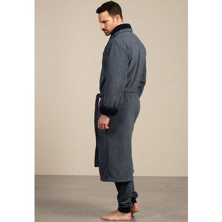 Eskimo luxe blauwe fleecebadjas heren zigzag