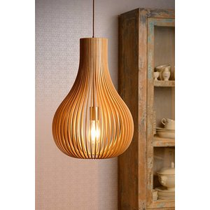 Lucide BODO - Hanging lamp - Ø 38 cm - 1xE27 - Light wood - 01400/38/72
