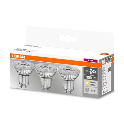 OSRAM set van 3 LED STAR LEDspots 4.3-50W GU10 warm wit