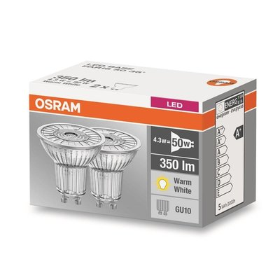 OSRAM LED Base 4.3-50W WARM WIT GU10 dubbelpack