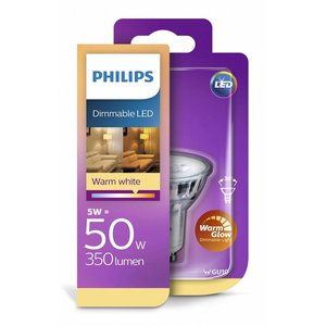 Philips Led classique GU10 5W-50W dimmable chaud Glow