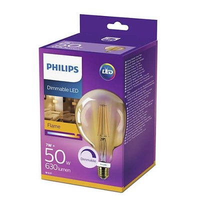 Philips LED Globe Vintage Style G120 E27 630Lm 7W warm wit DIM