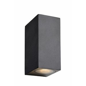 Lucide ZORA-LED - Wandspot Buiten - LED Dimb. - GU10 - 2x5W 3000K - IP44 - Zwart - 22860/10/30