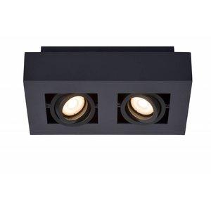Lucide XIRAX - Plafondspot - LED Dim to warm - GU10 - 2x5W 2200K/3000K - Zwart - 09119/11/30