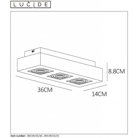 Lucide LED Ceiling Spot Xirax black 09119/15/30