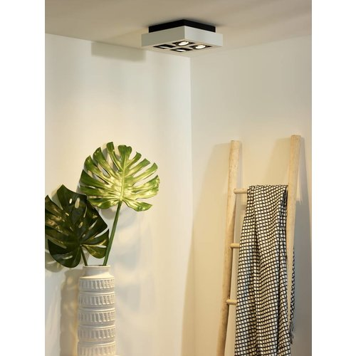 Lucide XIRAX - Plafondspot - LED Dim to warm - GU10 - 4x5W 2200K/3000K - Wit - 09119/21/31
