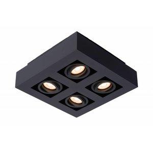 Lucide XIRAX - Plafondspot - LED Dim to warm - GU10 - 4x5W 2200K/3000K - Zwart - 09119/21/30