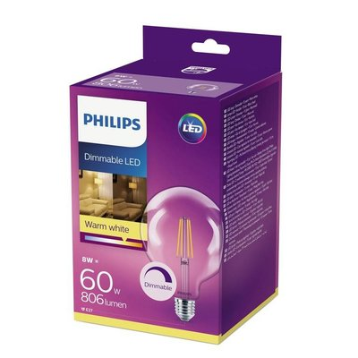 Philips E27 Retro Filament ampoule LED G120 DIM 8-60W