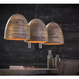 LioLights Vintage hanglamp 3xØ30 mango hout 8214