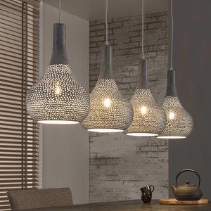 LioLights Vintage LED Hanglamp 4L punch kegel grijs
