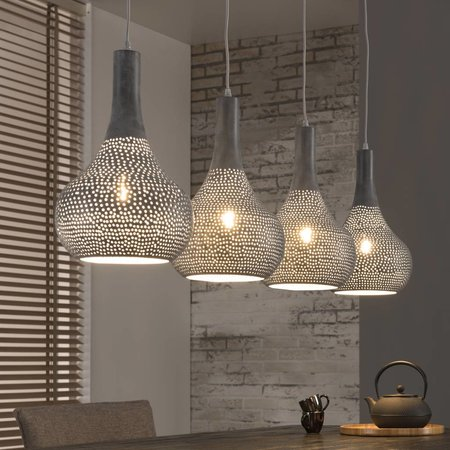 LioLights Vintage Pendant lamp 4L punch cone gray 8141