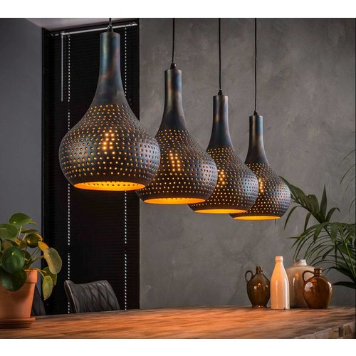 LioLights Vintage LED hanging lamp 4L punch cone black / brown
