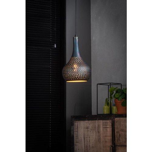 LioLights Vintage Hanglamp 1L punch kegel zwart/bruin