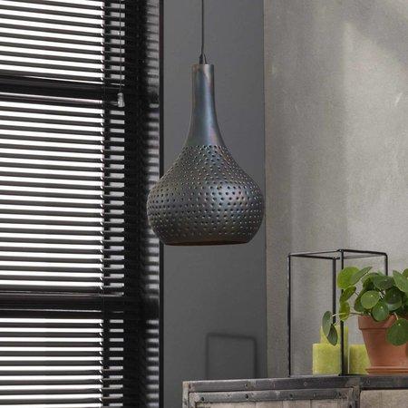 LioLights Vintage Hanglamp 1L punch kegel zwart/bruin 8142