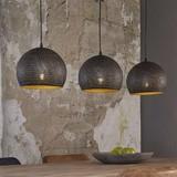 LioLights Suspension Vintage 3xØ25 punch sphère noir / marron 8098