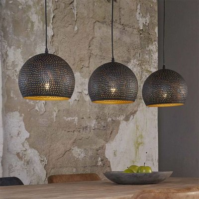 LioLights Vintage Hanging lamp 3xØ25 punch sphere black / brown 8098