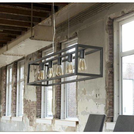 LioLights Vintage Hanglamp Hanglamp 5L rechthoek 4-kante buis