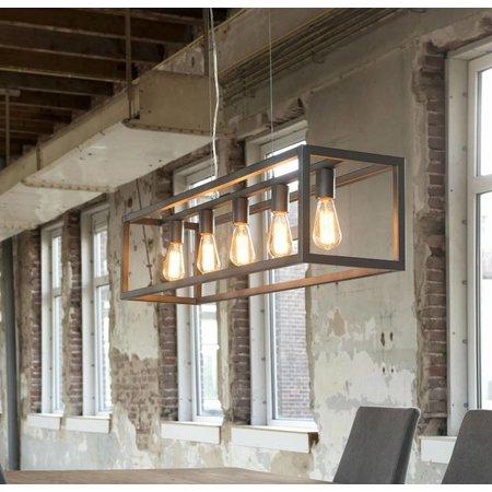 LioLights Vintage hanging lamp hanging lamp 5L rectangular 4-edged tube