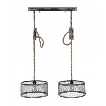 LioLights Vintage Hanglamp 2xØ40 mesh verstelbaar touw