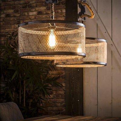 LioLights Vintage Hanging lamp 2xØ40 mesh adjustable rope