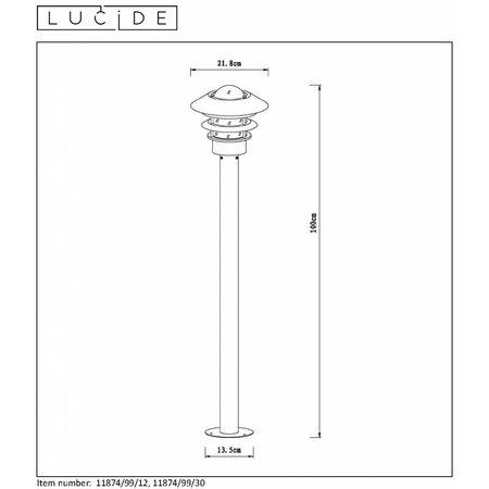 Lucide ZICO tuinpaal Ø 21,8 cm - IP44 - Zwart
