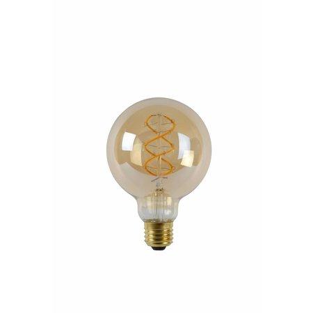 Lucide E27 Retro Filament LED Ø 9,5 cm - LED Dimb. - E27 - 1x5W 2200K - Amber