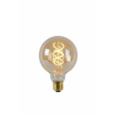 Lucide E27 Retro Filament LED Ø 9.5 cm - LED Dimming. - E27 - 1x5W 2200K - Amber