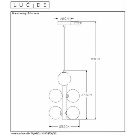 Lucide TYCHO - Suspension - Ø 25,5 cm - G9 - Noir 45474/06/30
