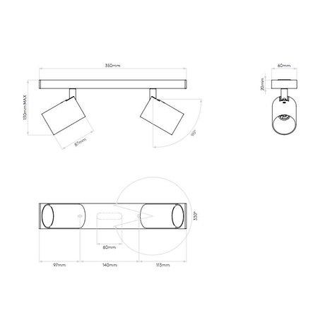 Astro Ascoli Double applique ou plafonnier GU10